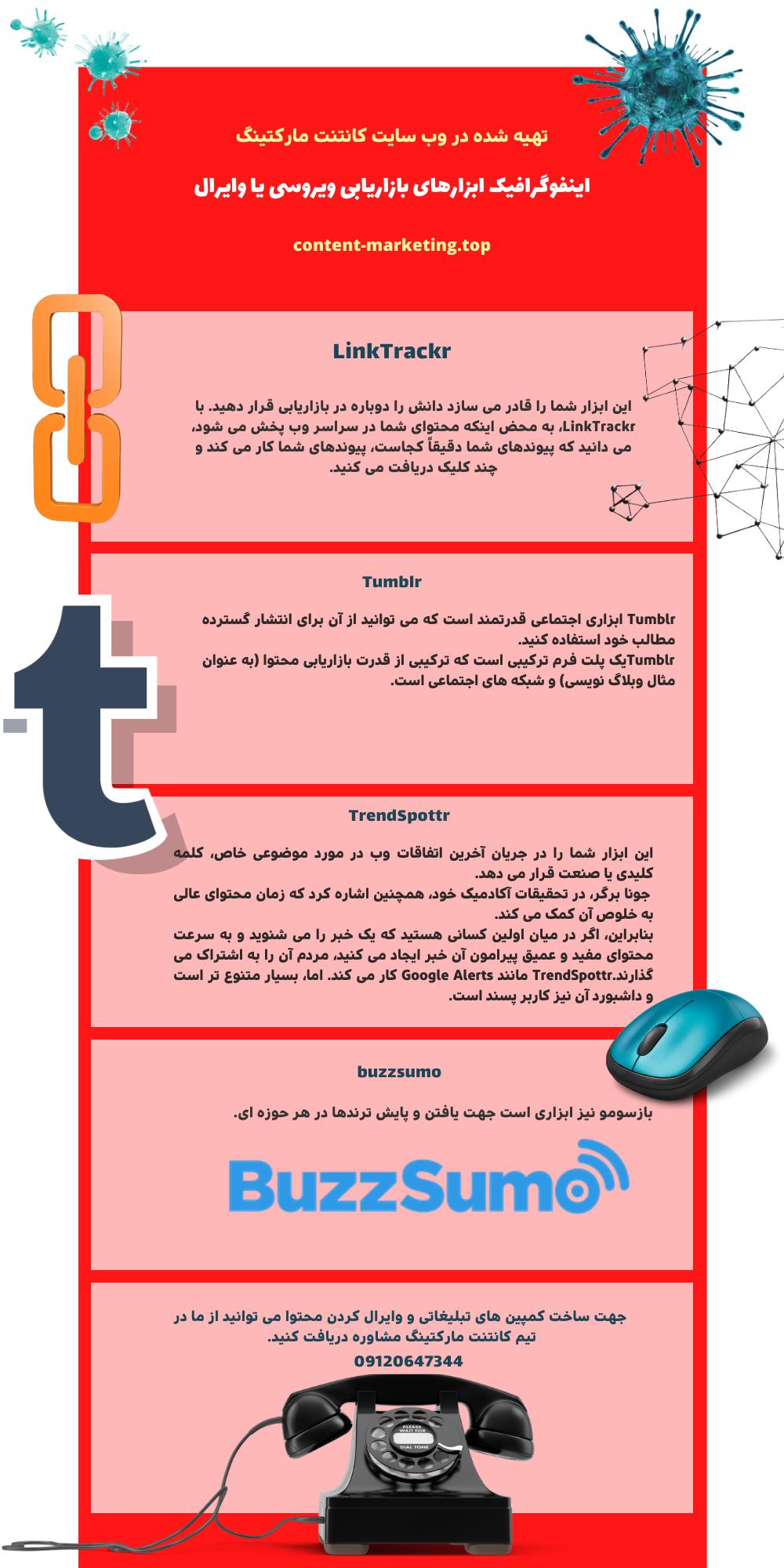 اینفوگرافیک ابزارهای بازاریابی ویروسی